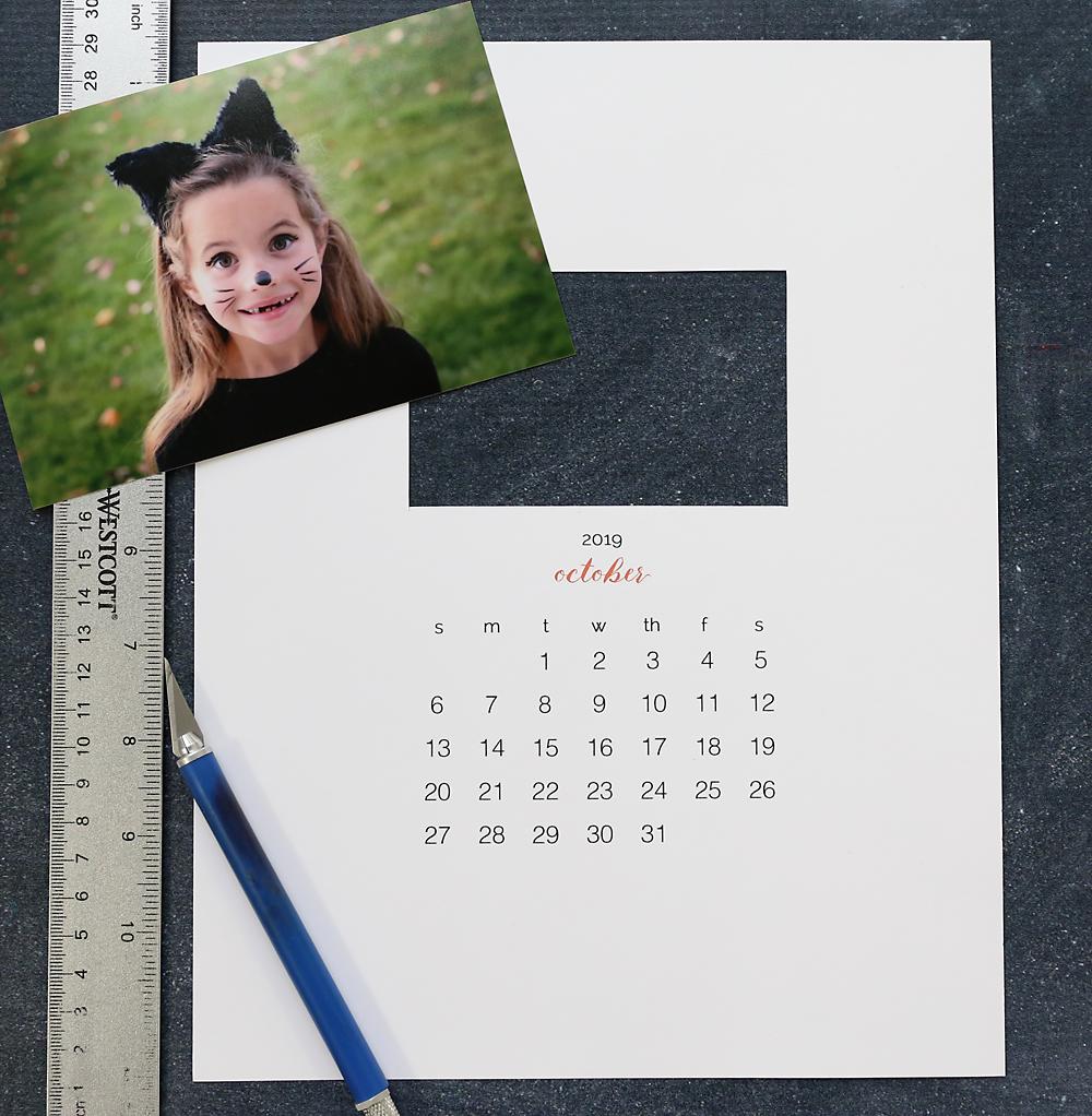 Printable calendar template, photo, ruler, exacto knife