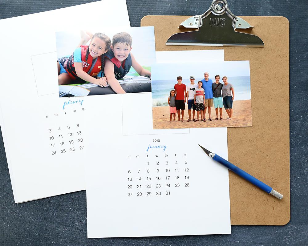 Printable photo calendar templates with exacto knife and photos
