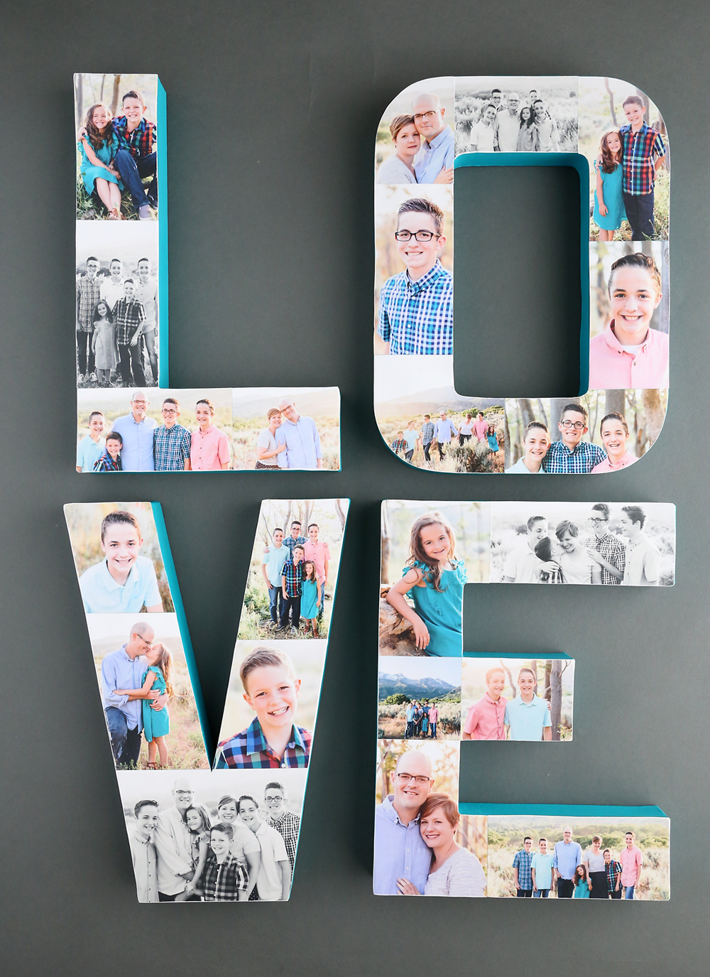 Pretty photo letters! How to create a photo collage on paper mache letters for a fun way to showcase favorite pictures.