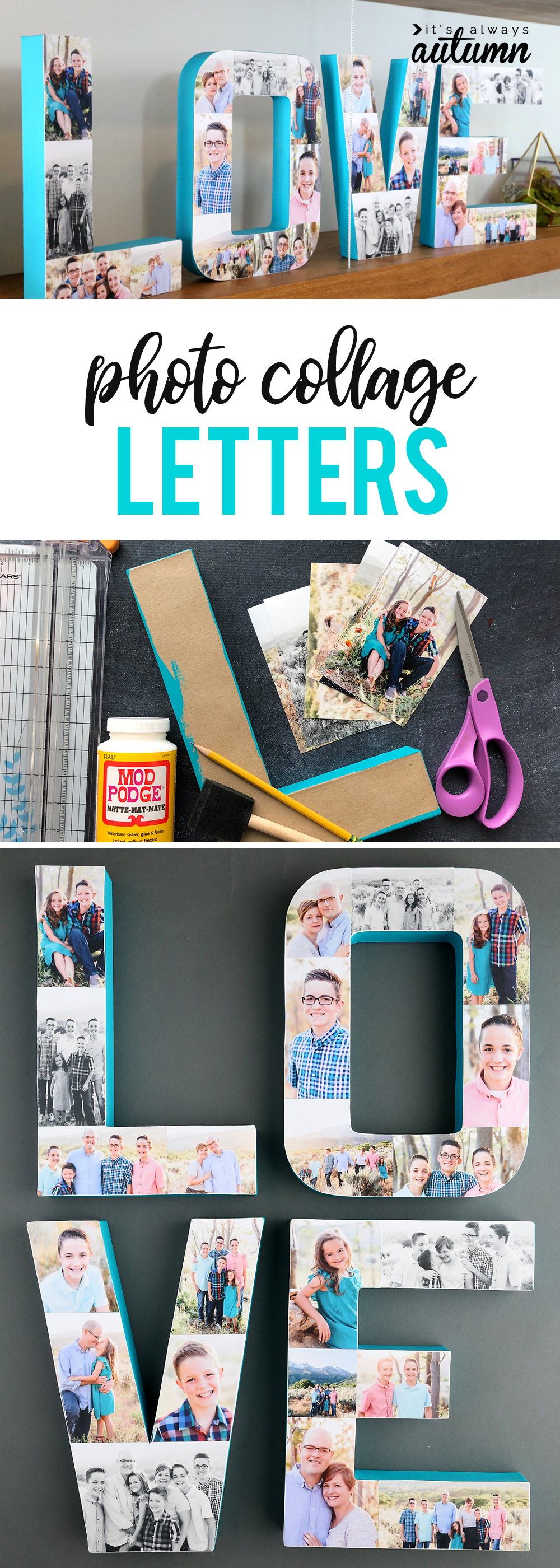 Collage: paper mache letters covered with photos, supplies for making photo letters