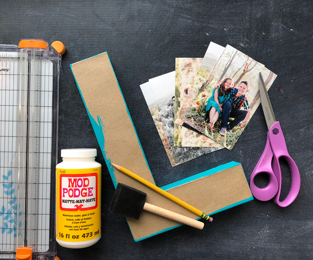 Supplies: paper trimmer, Mod podge, paper mache letter, photos, scissors, foam paint brush, pencil