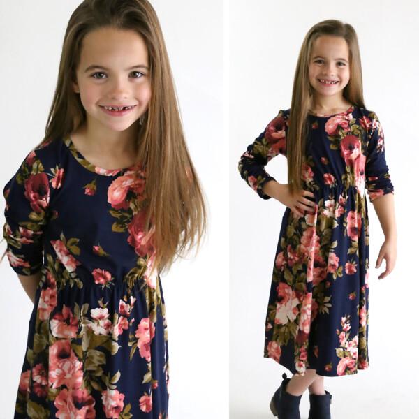Girl wearing handmade midi dress