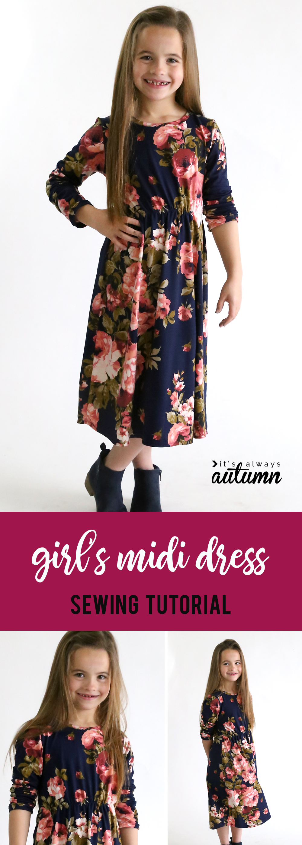 How to make a cute midi dress for a girl in any size without a pattern! Easy sewing tutorial.