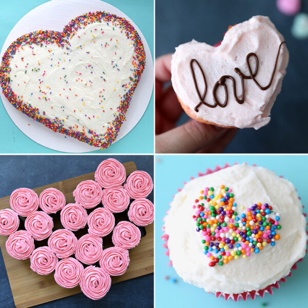 Four different heart shaped cakes for Valentine's day.