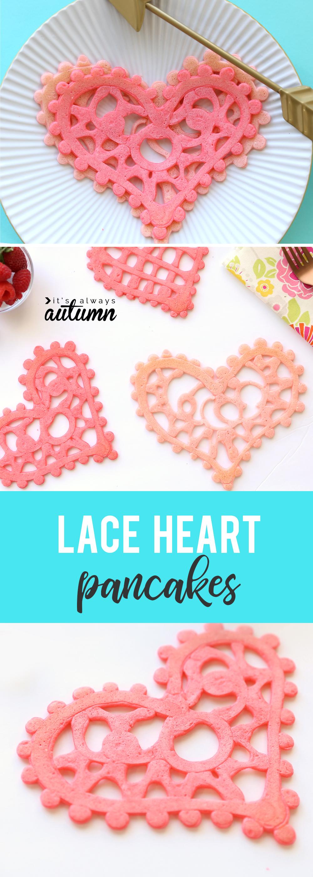 Lace heart pancakes