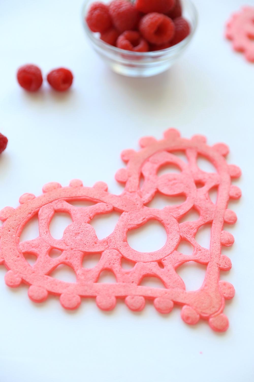 Pink lace pancake in a heart shape