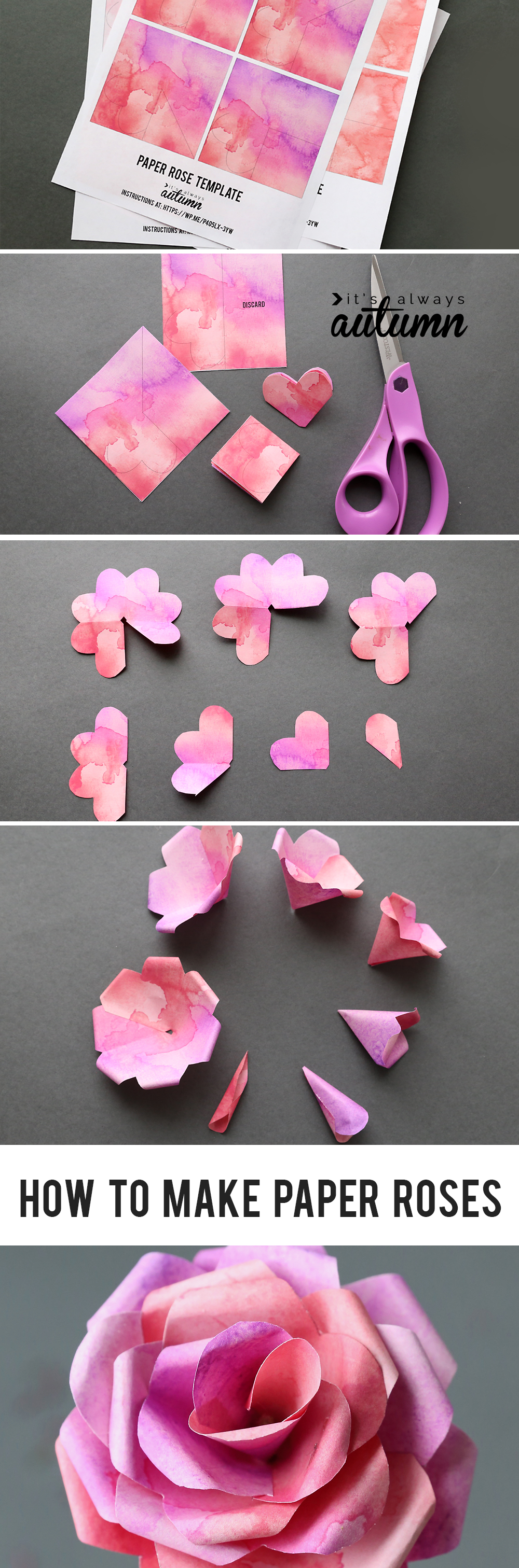 Steps for making paper roses