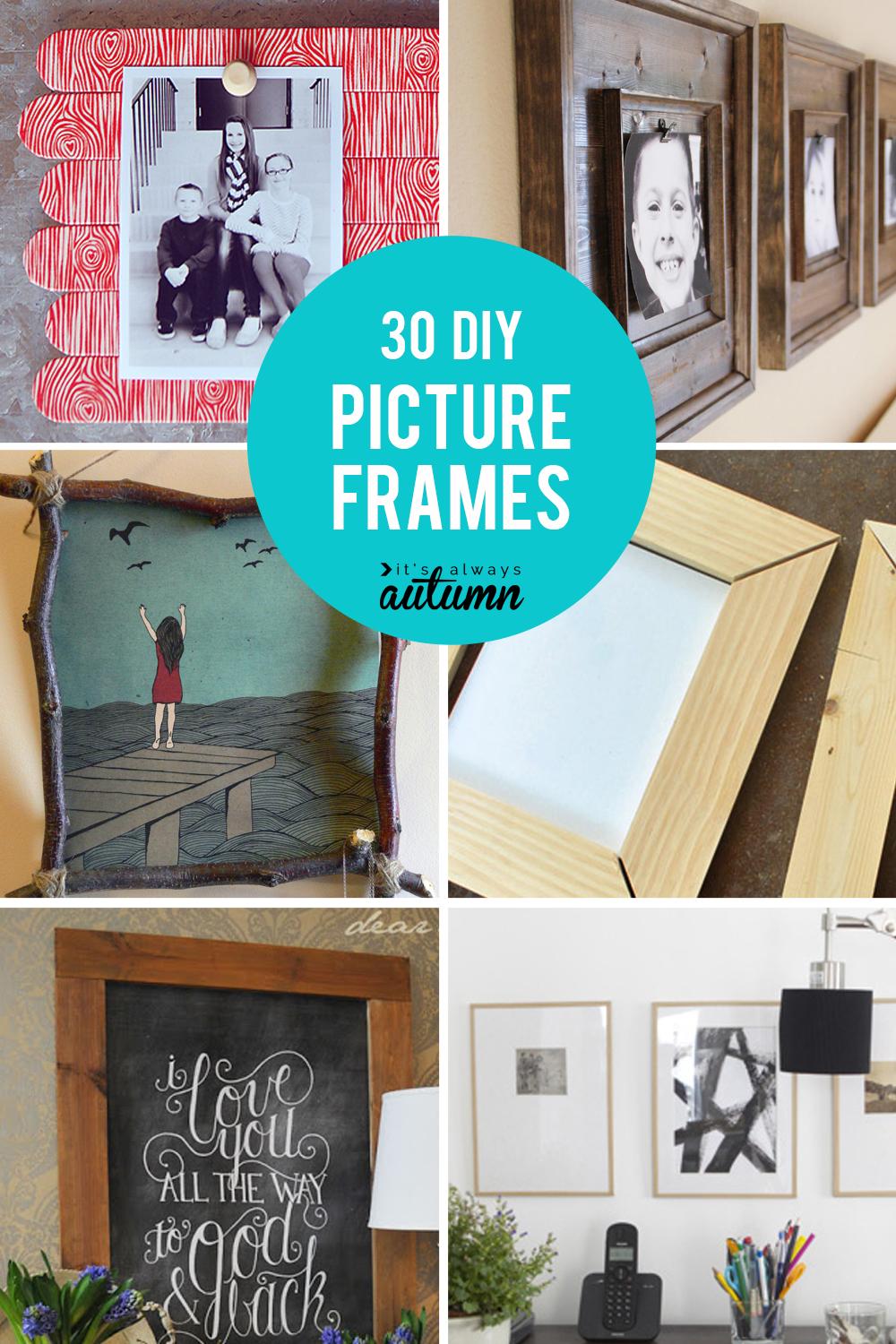 30 DIY picture frame tutorials! How to make a picture frame in any size or style you want. DIY photo frames.