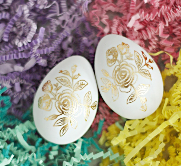 Easter eggs with gold flowers on them