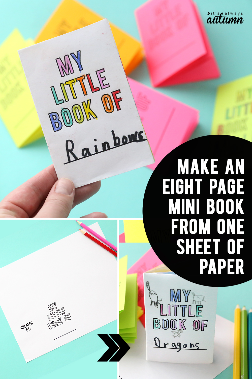 Little paper book that has been folded from one sheet of paper - foldable book