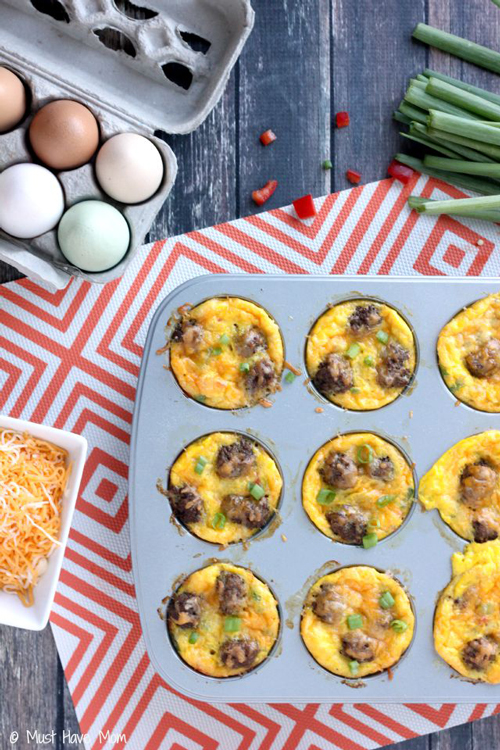 Mini sausage and vegetable omelettes in a muffin tin