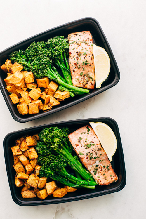 Lemon roasted salmon with broccoli and roasted potatoes in meal prep containers