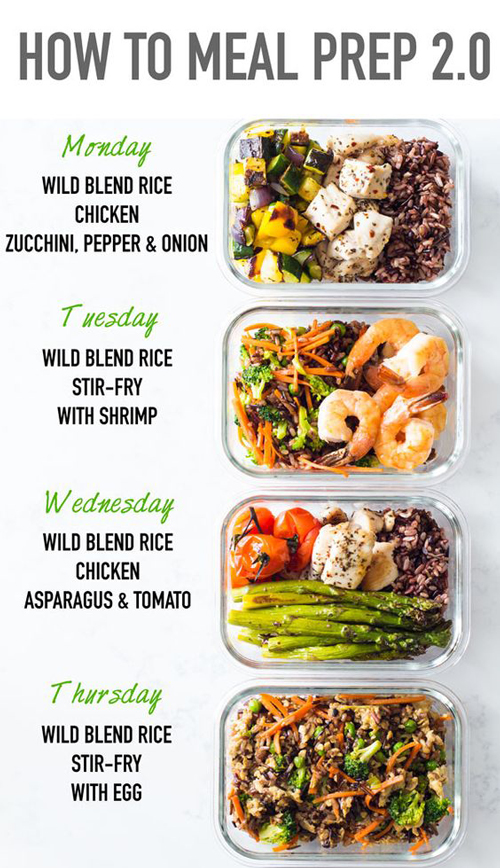 4 different pre prepped meals