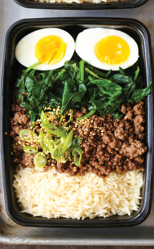 Korean beef bowl with beef, rice, greens and hardboiled egg