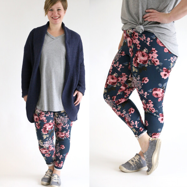 A woman wearing soft floral leggings made from a sewing pattern