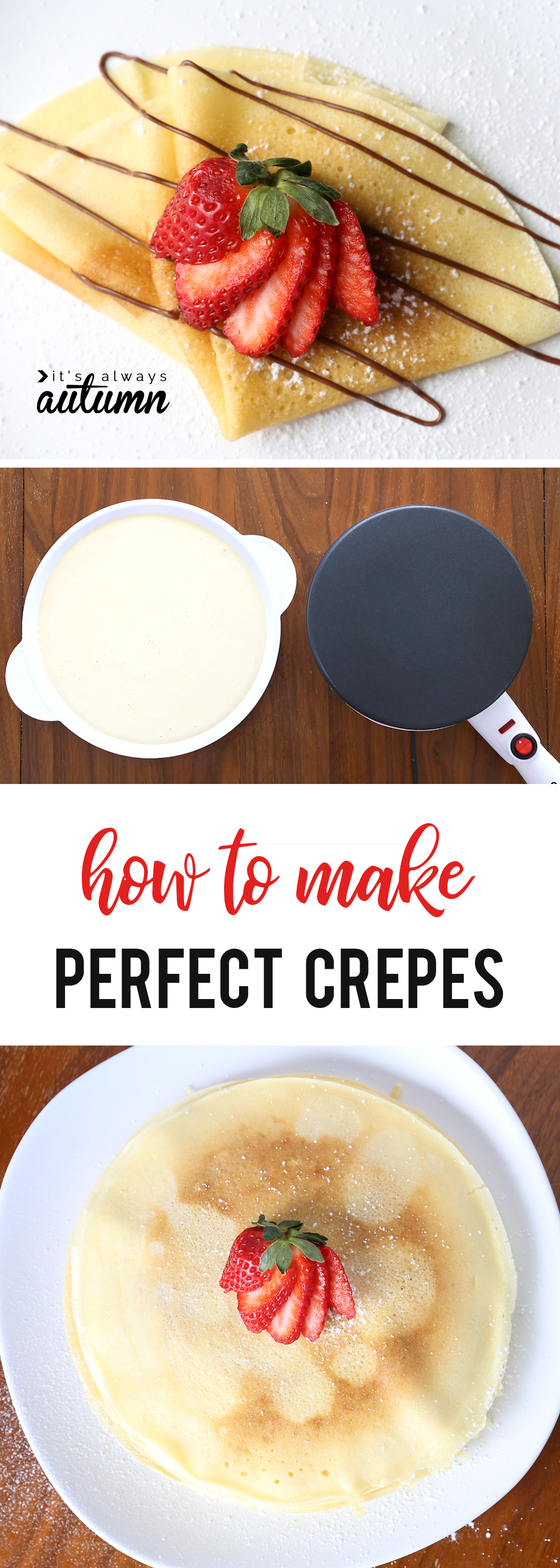 Homemade crepes, crepe maker with crepe batter