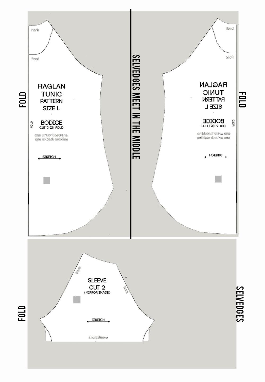 Raglan Tunic pattern cutting diagram