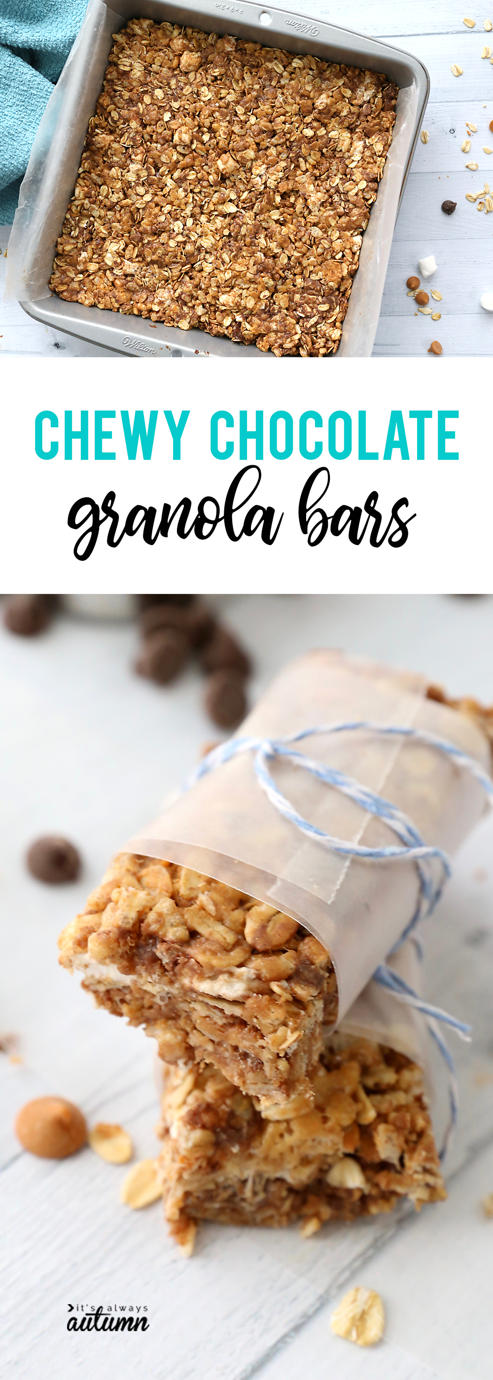 Homemade chewy chocolate granola bars are amazing! An easy snack recipe you can put together in 10 minutes that EVERYONE will love!