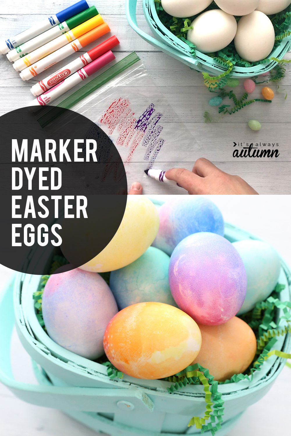Marker dyed Easter eggs