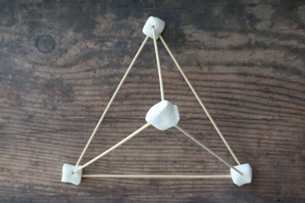 Pyramid made from marshmallows and wood skewers
