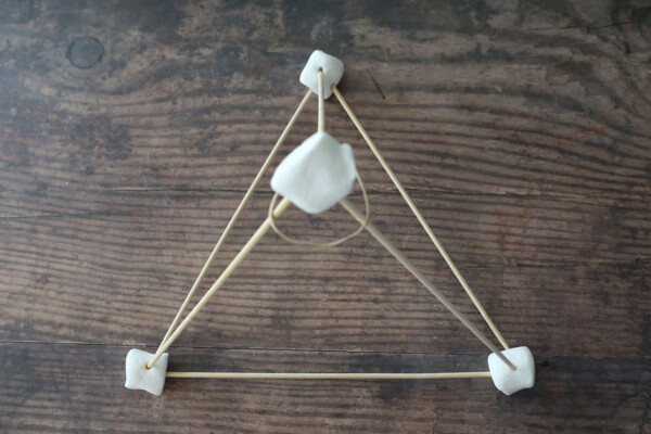 Rubber band placed over top marshmallow