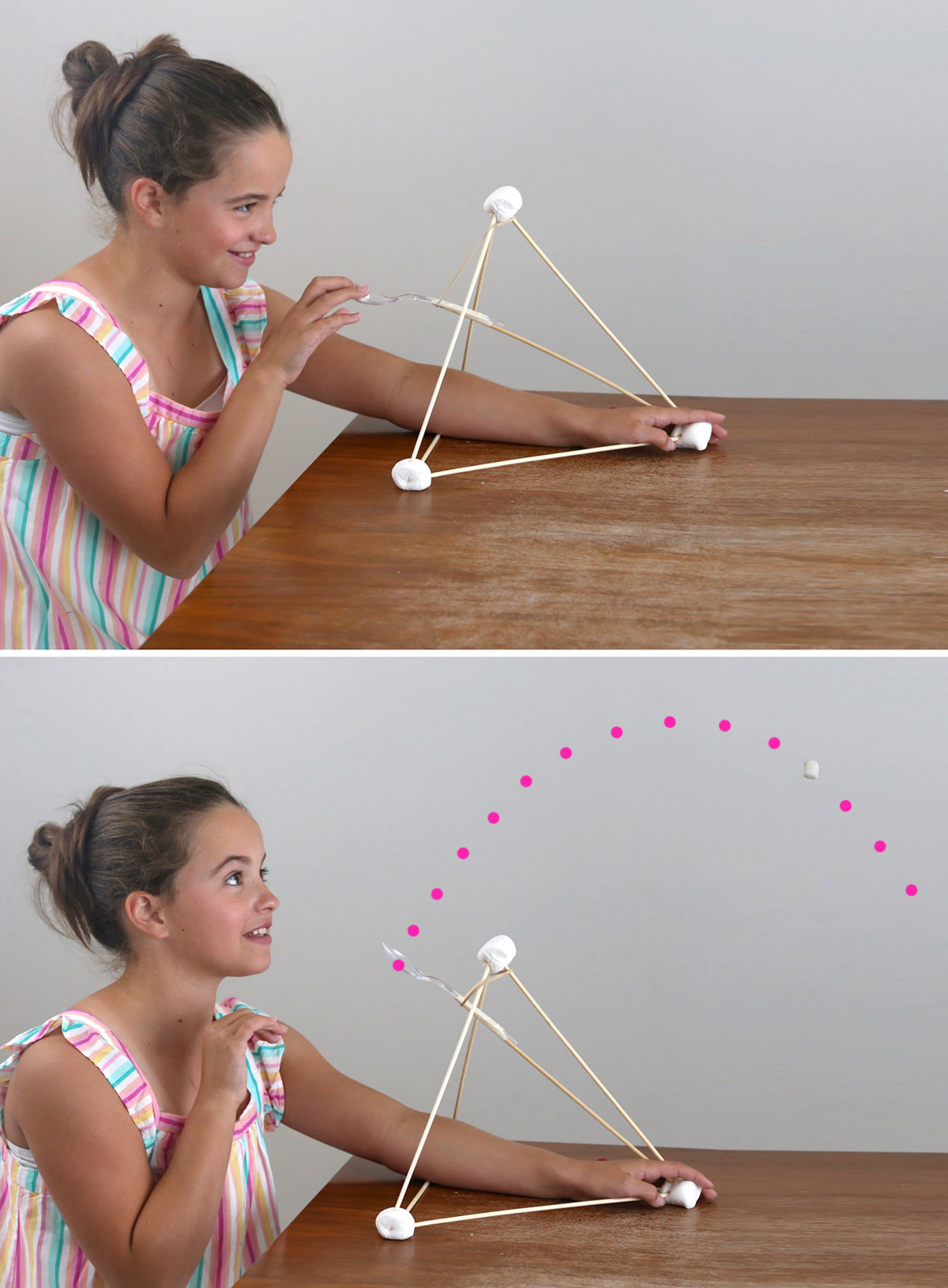 Girl using a marshmallow catapult to launch mini marshmallows