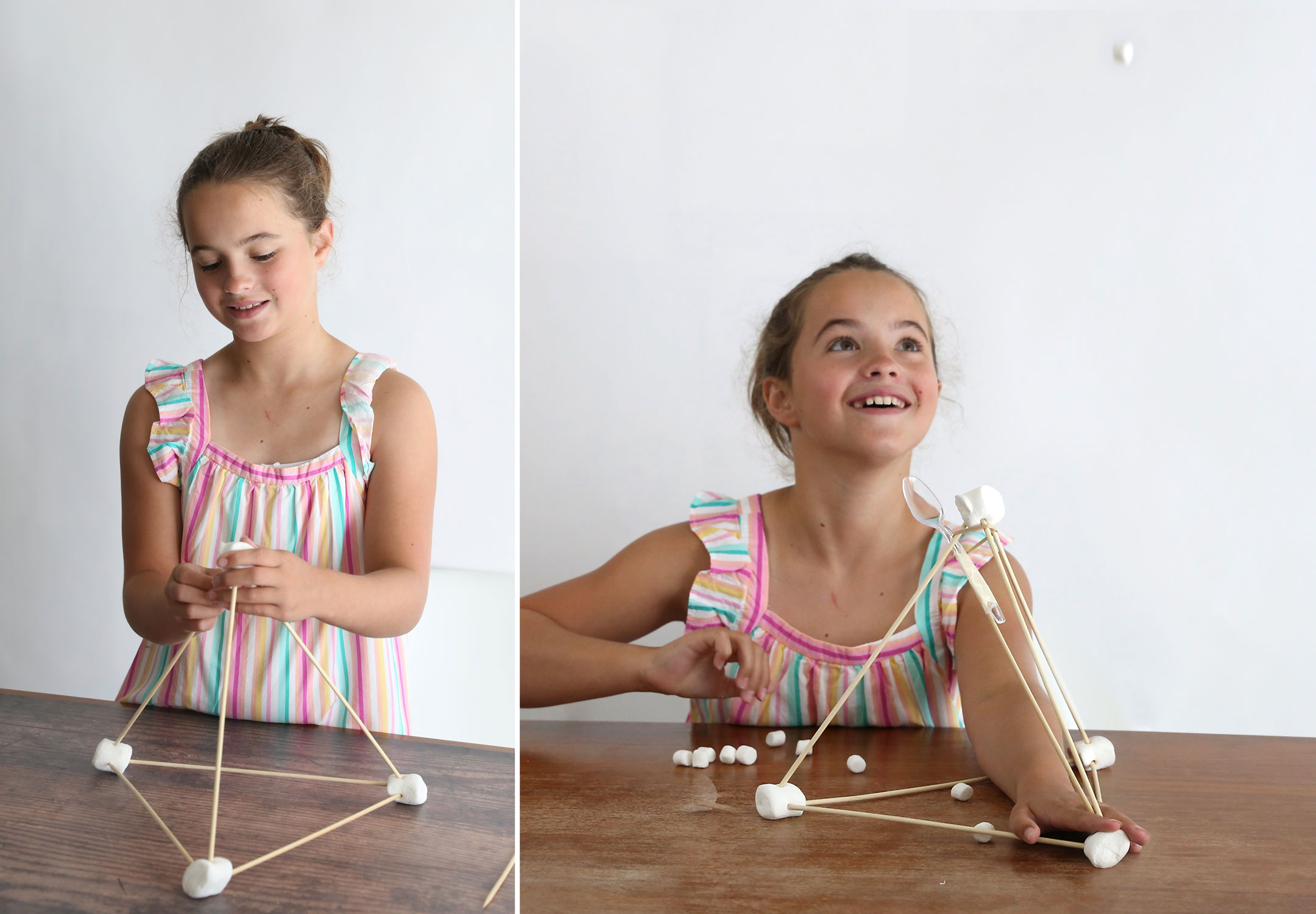 Girl building a marshmallow catapult