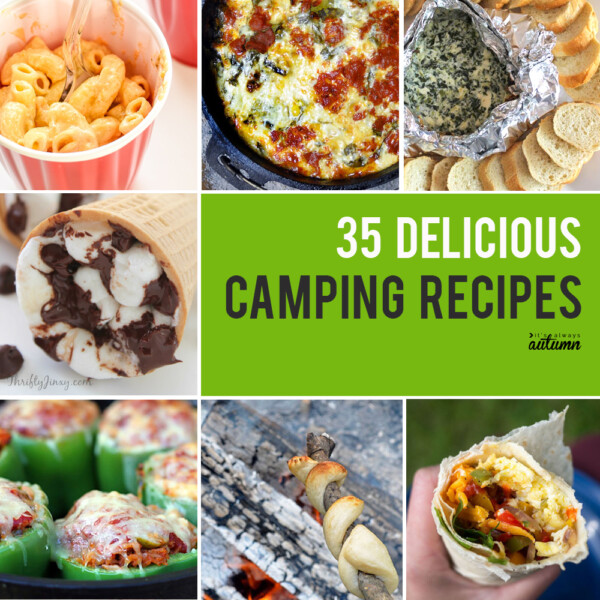 Collage of different camping recipes