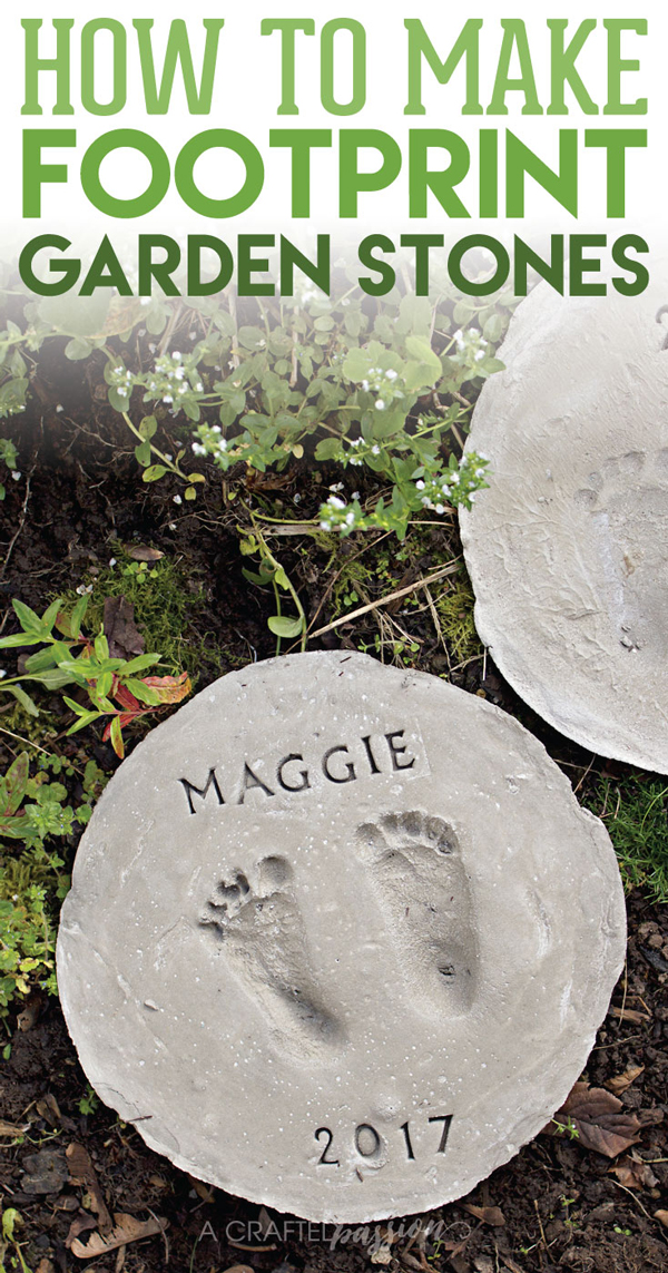 Cute footprint stepping stones DIY | 30 best handprint and footprint projects