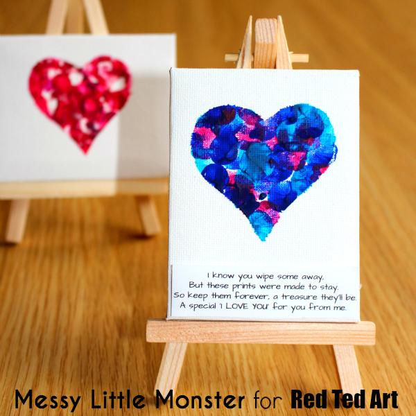 Fingerprint heart artwork | 30 best handprint art ideas