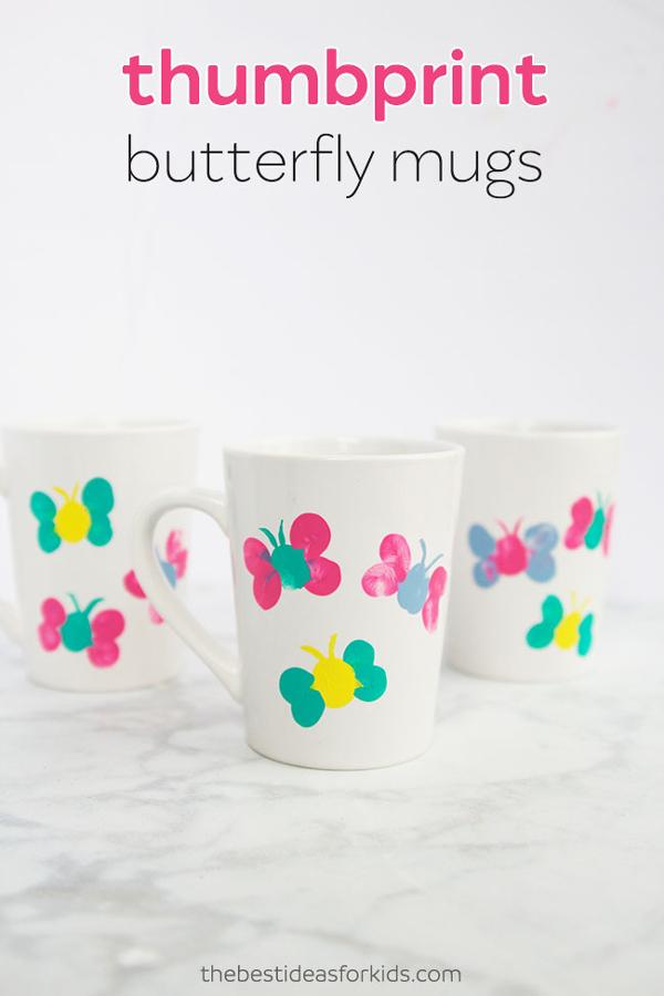 Cute DIY thumbprint butterfly mugs | 30 best handprint art ideas