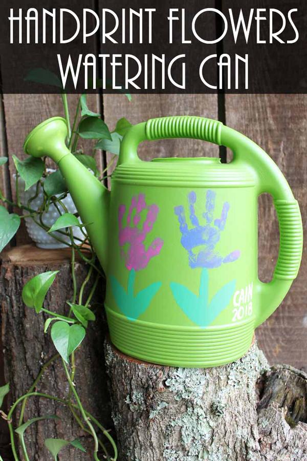 DIY handprint watering can gift idea | 30 best handprint art ideas