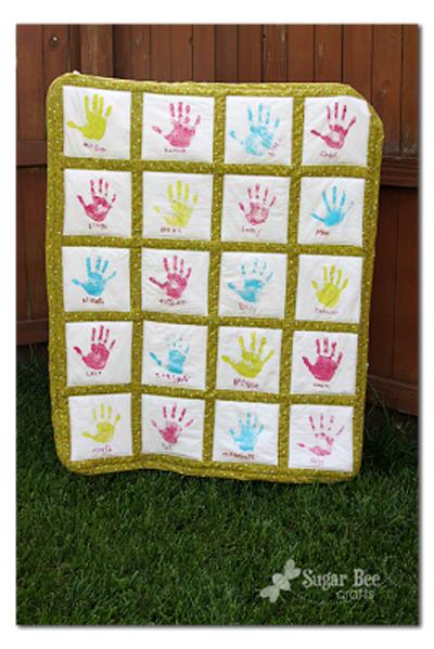 DIY handprint quilt | 30 best handprint art ideas