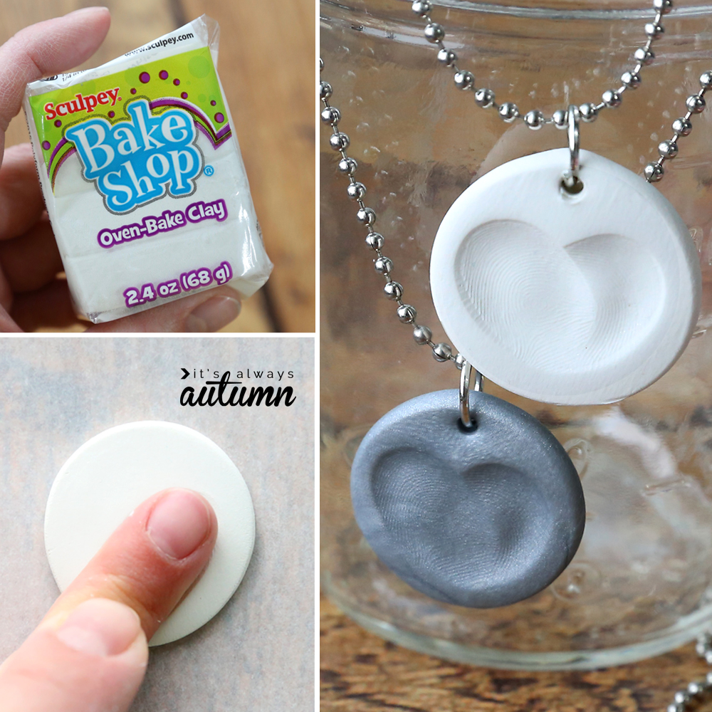 Collage: package of clay; finger pressing print into circle of clay; two necklaces with hearts made from fingerprints