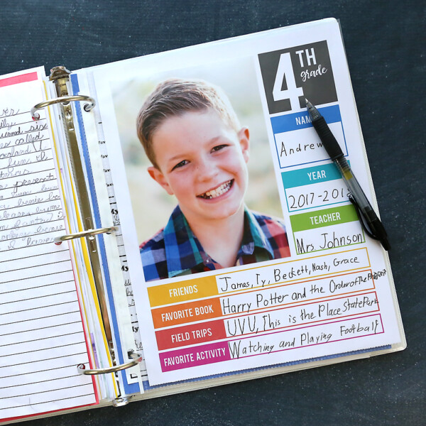 Page in a binder with school photo and information about 4th grade