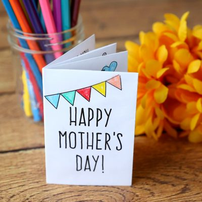 Adorable PRINT + COLOR Mother's Day card for kids
