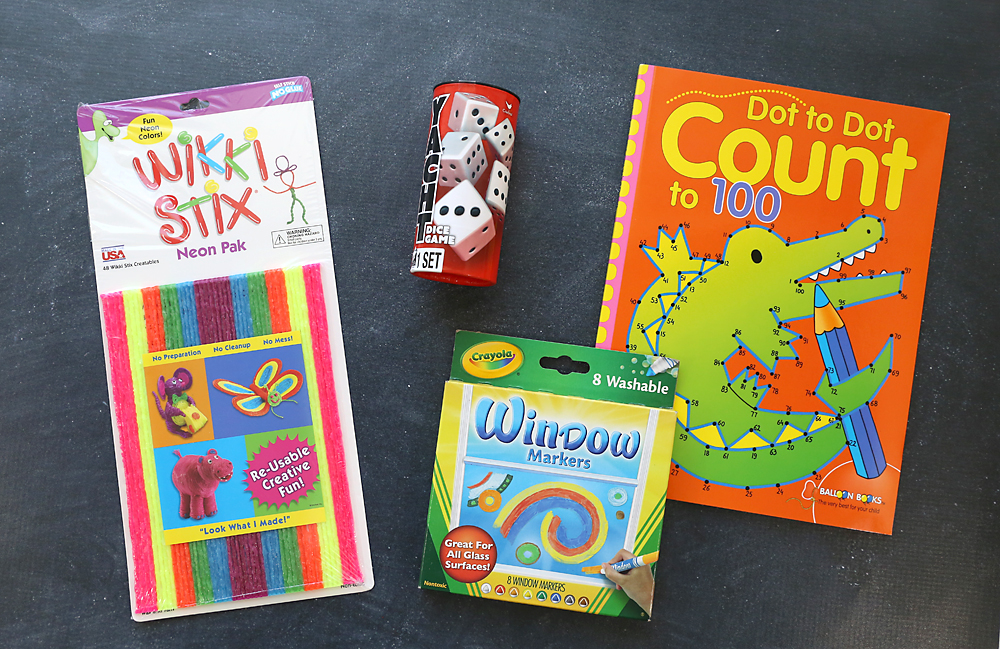 wikki stix, yahtzy, dot to dot book and window markers