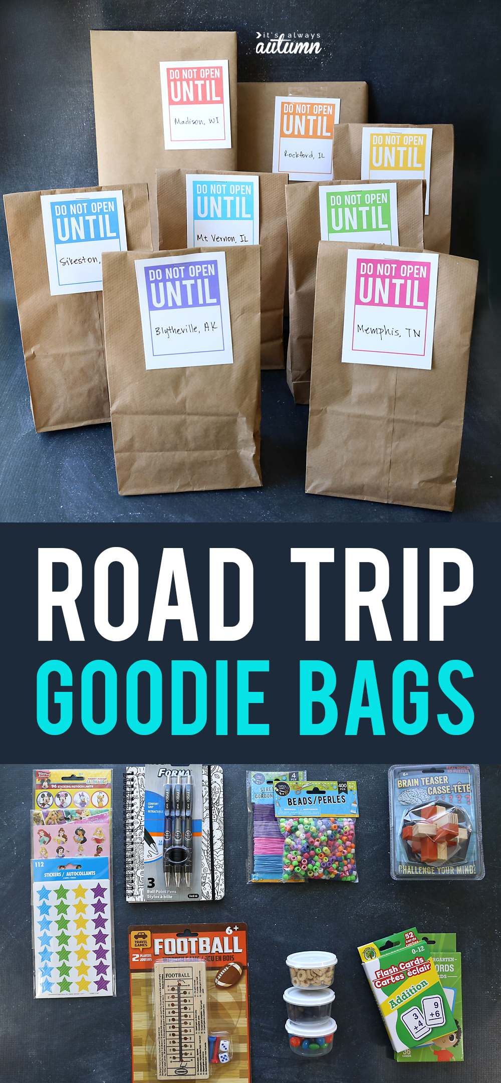 Count down a long car ride with road trip goodie bags! Let kids open one each hour to make the trip more fun. Click through for 30 things to put inside them.