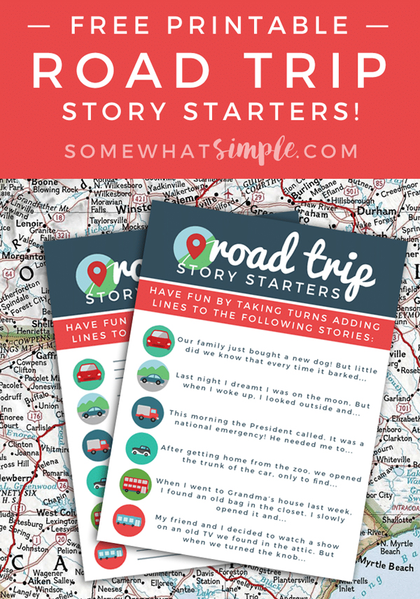 Road trip story starter printables | Best activities for road trips with kids
