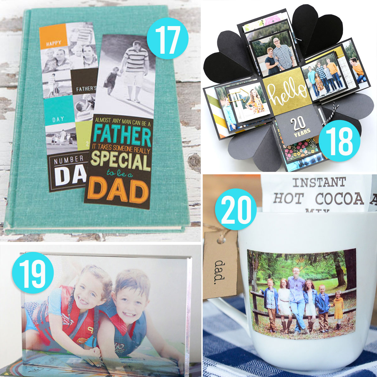 20 DIY Father's Day gift ideas: photo bookmarks, photo mug, etc.