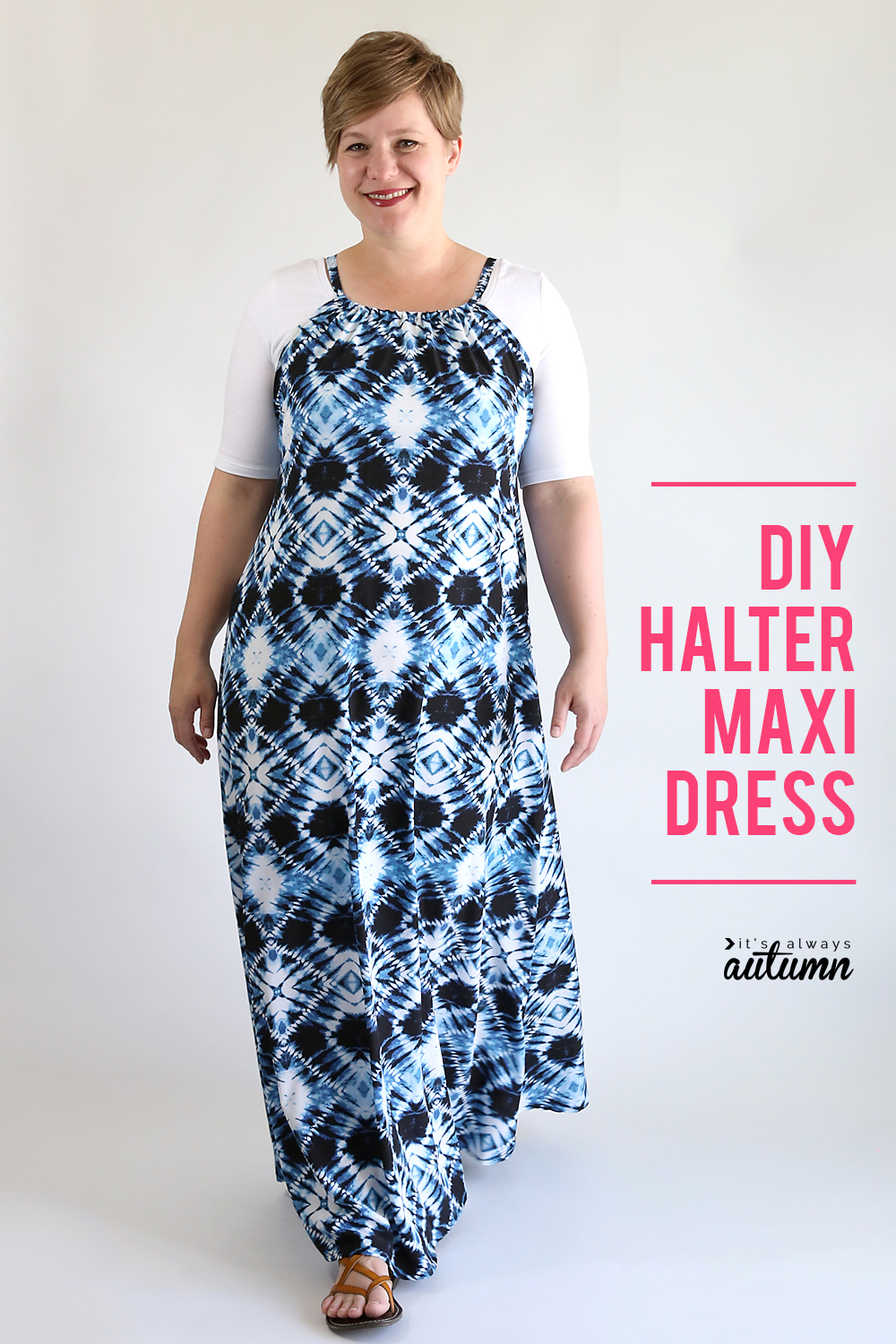 Learn how to make a DIY halter maxi dress. Click through for the easy sewing tutorial. How to sew a maxi dress.