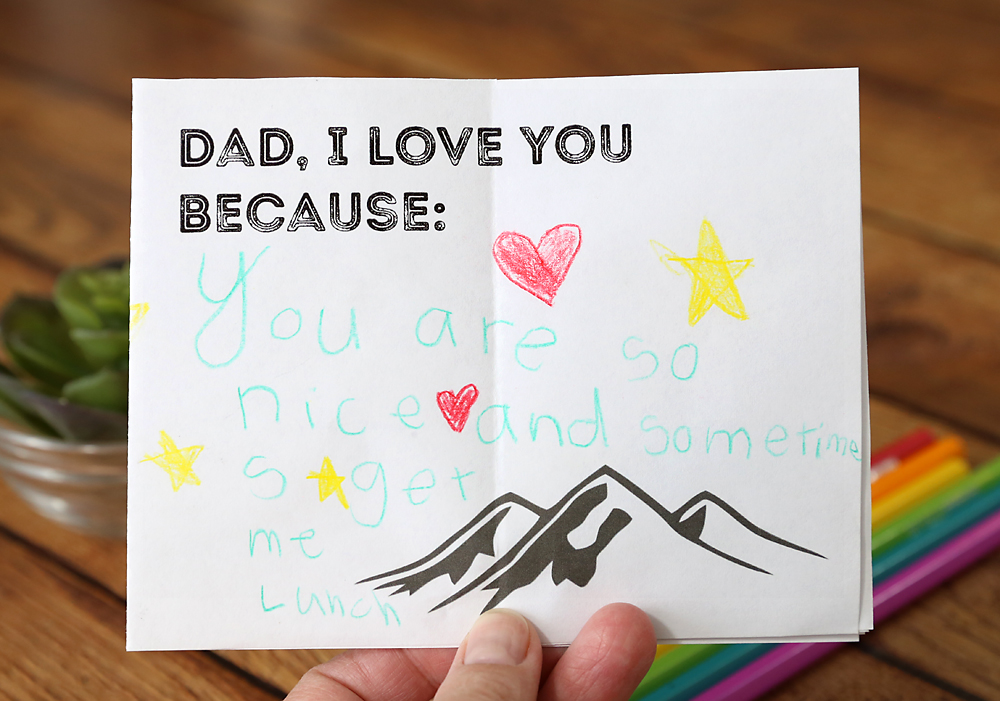 Cute printable Father's Day card for kids! Print it out, let the kids color it in and write notes, then fold it up to give to Dad for Father's Day.