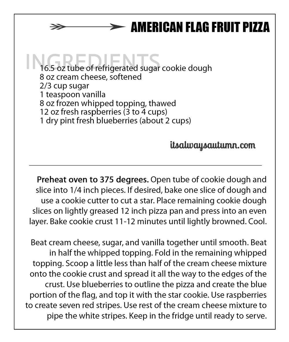 Recipe card for American Flag fruit pizza