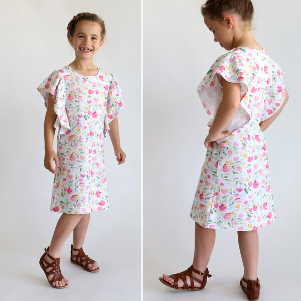 A girl wearing a dress with flowers and wavy sleeves - waterfall dress pattern