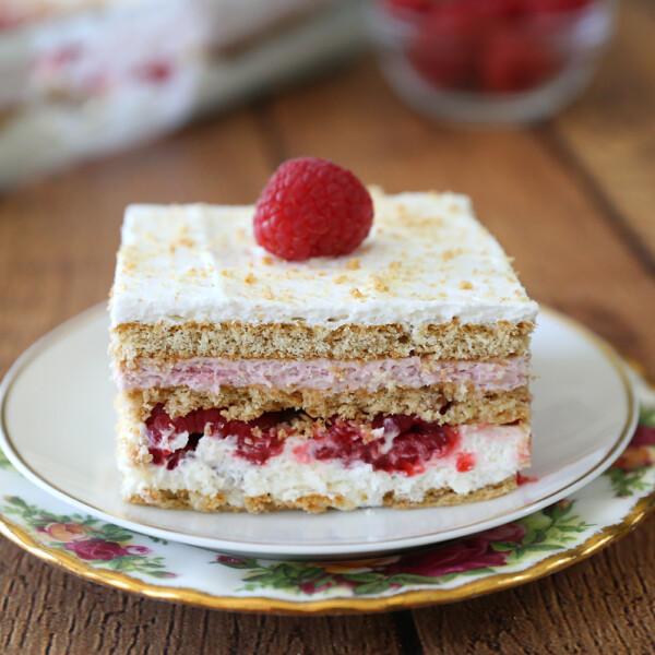 Rapsberry cheesecake icebox cake on a plate