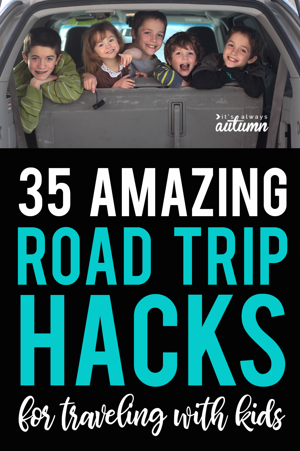 Over 35 of the best hacks for road trips with kids.