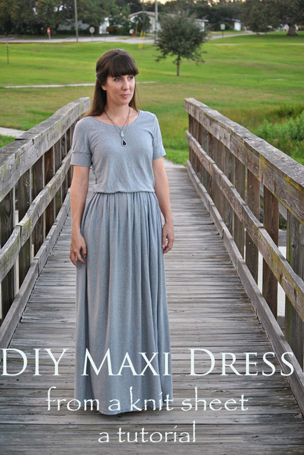 DIY maxi dress made from bed sheet: maxi dress patterns