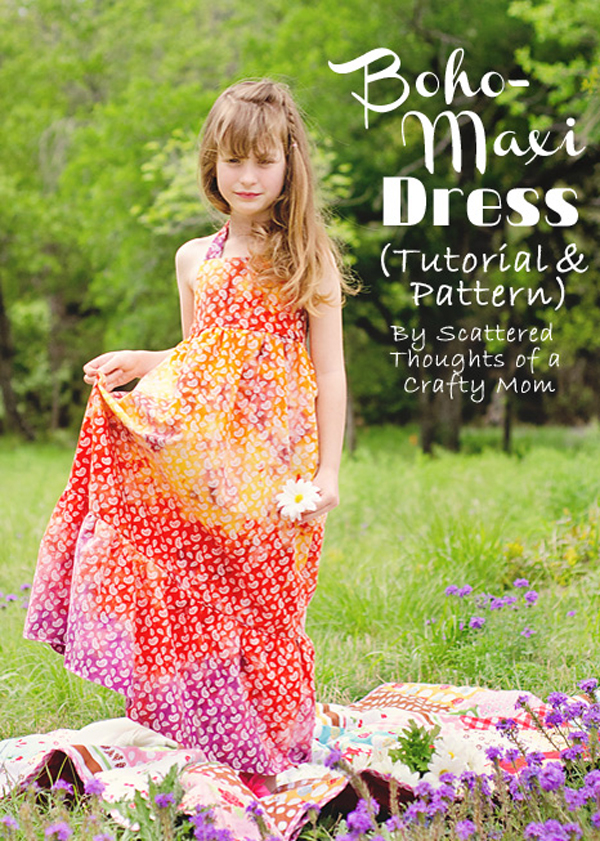 Girl wearing a halter top maxi dress sewn from a free pattern