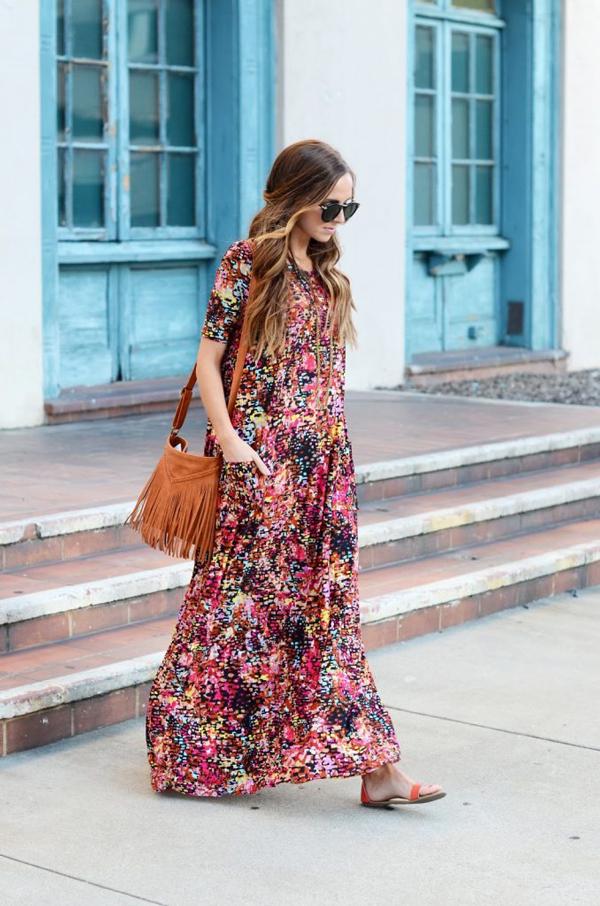 Woman wearing floral maxi dress; maxi dress patterns