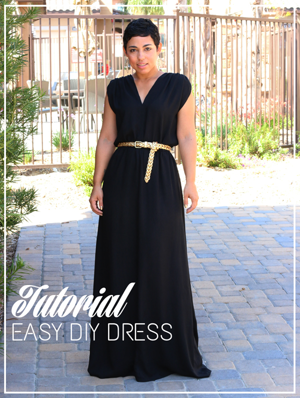 Woman wearing black long dress with text: tutorial Easy DIY dress